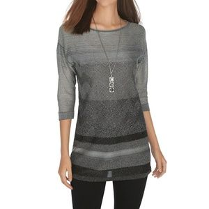 WHBM | 3/4 Sleeve Lurex Tunic Pullover
